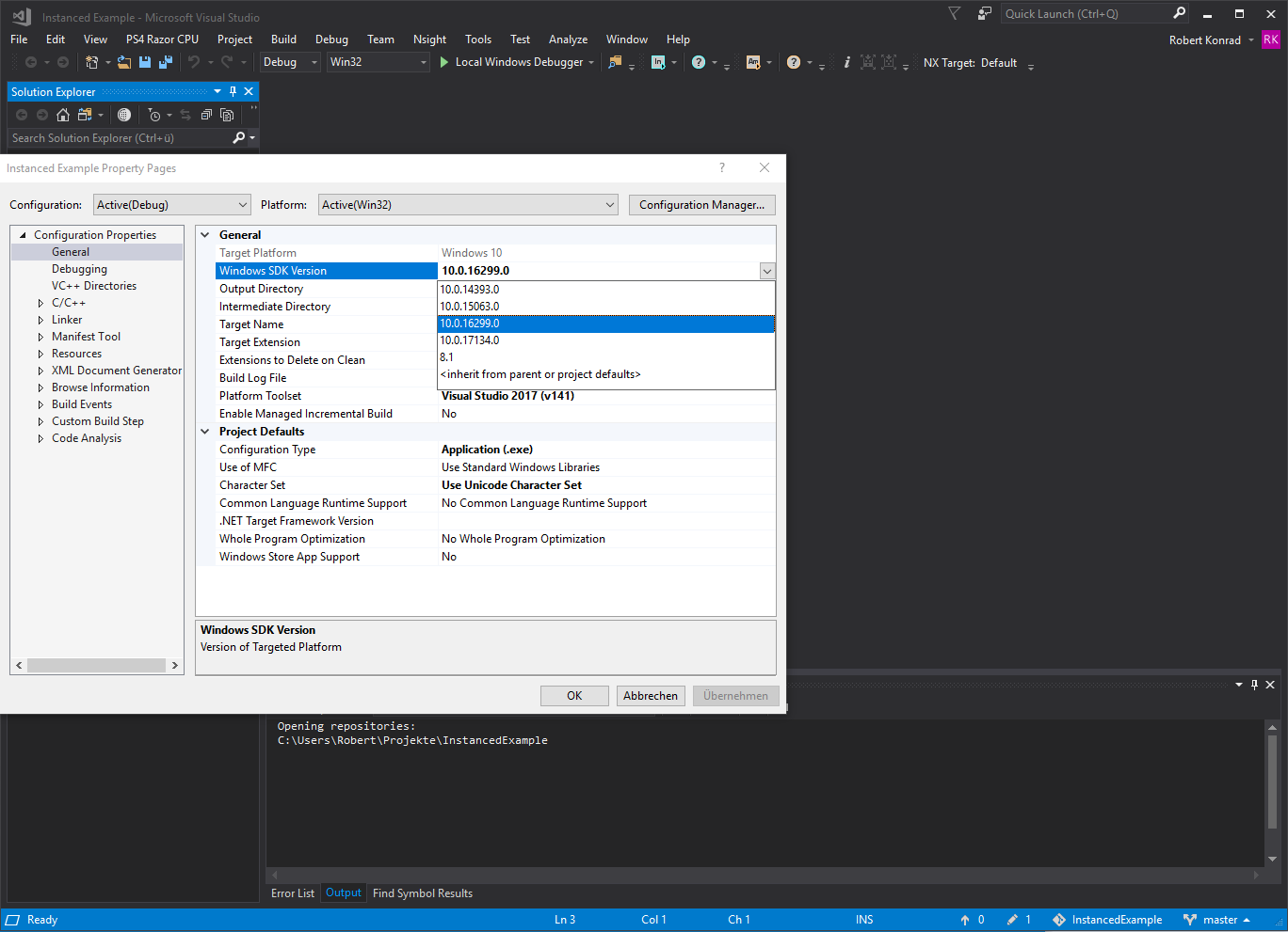 Visual Studio Windows SDK selection 2